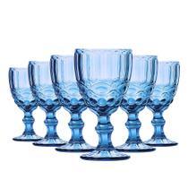 Conjunto de Taças para Água Elegance Azul 6 Peças 260ml Class Home -