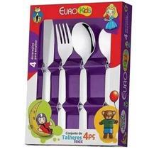 Conjunto de Talheres Inox Infantil Euro Kids 4 Peças - Euro Home