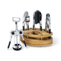 Conjunto de utensílios em inox com suporte em bambu 5 peças - Welf