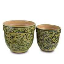 Conjunto de Vaso  Cachepô Decorativo em Cerâmica cor Verde e Azul - Santa cecília