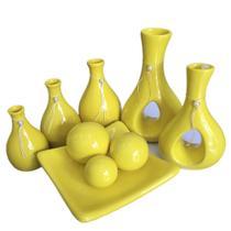 Conjunto De Vasos Decorativos Amarelo Sharon Enfeite Sala Casa - Conjunto Vasos Sharon Amarelo