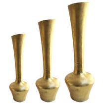 Conjunto de Vasos Em Alumínios na Cor Dourado Elias - Prime home decor