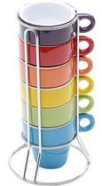 Conjunto De Xícaras Coloridas Com Suporte - Bon Gourmet