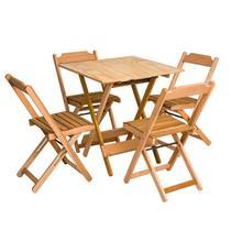 Conjunto Dobrável De Mesa 70x70 Com 4 Cadeiras - Marcenaria Real