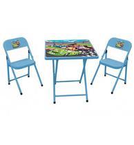Conjunto Dobrável Infantil Sapeca com 2 Cadeiras - Azul Carros - Metalmix -