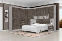 Conjunto Dormitorio Georgia Casal Modulado 6 Peças Itauba - J&A MOVEIS