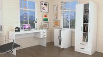 Conjunto Escritório Office Plus Appunto 3 Peças: Escrivaninha Com 2 Gavetas, Balcão E Armário Com Portas E Gavetas - Branco -