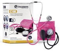 Conjunto Estetoscópio e Esfigmomanômetro C100 Incoterm - Rosa - Mdf/Incoterm