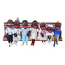 Conjunto Fantoches Gigantes Família Carlu 7 Personagens Branco/Preto -