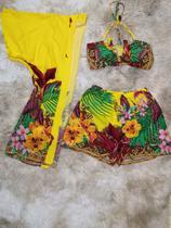 Conjunto Feminina (kimono+short+cropped) Estampas Florais - Seven