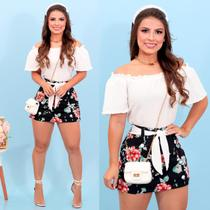 Conjunto Feminino Blusa Ciganinha Short Saia Estampado 36 ao 40 - Bellucy Modas