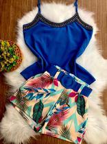 Conjunto Feminino Blusa Com perolas e Short Estampado - Bellucy Modas