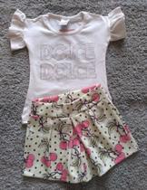 Conjunto feminino blusa e shorts cereja alekids tam 2 marfim/lima -
