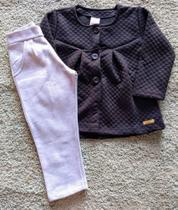 Conjunto feminino casaco cashmere com botão e calça moletom com felpa abrange preto/mescla cza tam 2 -