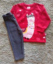 Conjunto feminino casaco ml e calça com felpa abrange vermelho/cinza tam p -