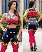 Conjunto  feminino  legging  e  top  mulher  maravilha  vermelho  tamanho  (g) - Miss  Fitness