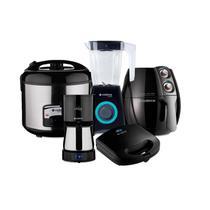 Conjunto Fritadeira, Sanduicheira, Panela Elétrica, Cafeteira e Liquidificador Be Black 127V Cadence Preto -