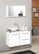 Conjunto gabinete + armário para banheiro azaleia 60 cm c/ tampo de vidro branco - Mm Gabinetes
