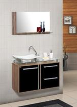 Conjunto gabinete + armário para banheiro azaleia 60 cm c/ tampo de vidro carvalho / preto - Mm Gabinetes