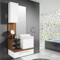 Conjunto Gabinete Balcão Banheiro Com Espelho Cuba Nichos Mdf Mdp Alteza 65cm - Outlet Das Fábricas
