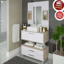 Conjunto Gabinete De Banheiro Com Balcão Painel Gabinete Nichos - Outlet Das Fábricas