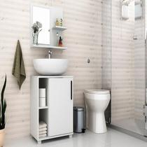 Conjunto Gabinete Para Banheiro Painel + Balcão Bbn19 - Branco - Brv Móveis