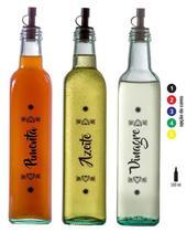 Conjunto Galheteiro Redondo 500ml - 3 Potes - Linha Patna (Pimenta/Azeite/Vinagre) - Vetrolar