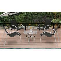 Conjunto Garden Famais 4 Cadeiras 1 Mesa com Tampo de Vidro-Preto -