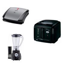 Conjunto Grill, Liquidificador e Fritadeira 127V Britânia Preto -