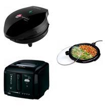 Conjunto Grill, Máquina de Cupcake e Fritadeira 220V Britânia Preto -