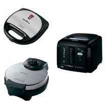 Conjunto Grill Sanduicheira, Máquina de Waffle e Fritadeira 127V Britânia Preto -
