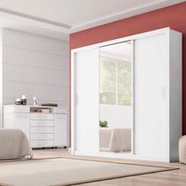 Conjunto Guarda Roupa Casal com Espelho 3 Portas Residence e Cômoda London  Espresso Móveis Branco -