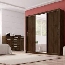 Conjunto Guarda Roupa Casal com Espelho 3 Portas Residence e Cômoda London  Siena Móveis Ébano -