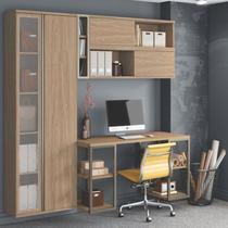 Conjunto Home Office 3 Armários Escrivaninha e Nicho Smart Nogueira - Belaflex -