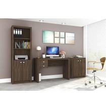Conjunto Home Office CB01 com Escrivaninha, Armário Alto e Armário Baixo Nogal Casa da Mobília -