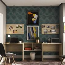 Conjunto Home Office com 2 Escrivaninhas, 2 Painéis e 1 Nicho Master Luciane Móveis - Kit