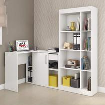 Conjunto Home Office com Escrivaninha e Estante Luca  Branco - Gebb work
