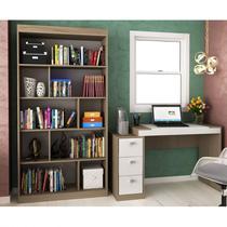 Conjunto Home Office com Escrivaninha e Estante para Livros  Móveis Avelã TX/Branco TX - Hecol Móveis