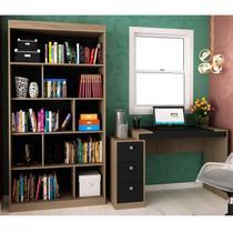 Conjunto Home Office com Escrivaninha e Estante para Livros Móveis Avelã TX/Ônix TX - Hecol Móveis