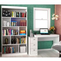 Conjunto Home Office com Escrivaninha e Estante para Livros  Móveis Branco TX/Branco TX - Hecol Móveis