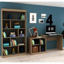 Conjunto Home Office com Escrivaninha Multifuncional e Estante para Livros Móveis Avelã TX/Ônix TX - Hecol móveis