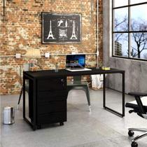 Conjunto Home Office com Mesa para Computador e Gaveteiro Volante Espresso Móveis Preto Onix -
