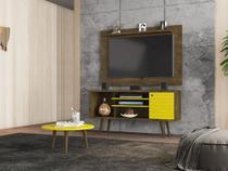Conjunto Home para TV Mesen com Mesa de Centro Madeira Amarelo - Bechara