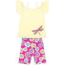 Conjunto Infantil Abrange Blusa e Short Ciclista - Em Algodão e Elastano - Amarelo e Rosa -