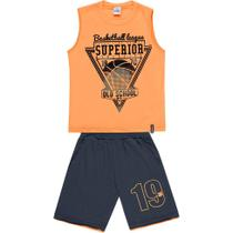 Conjunto Infantil Abrange Camiseta Regata e Bermuda - Em 100% Algodão - Laranja e Cinza -