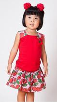 Conjunto Infantil Blusa e Saia Cereja - Precoce -