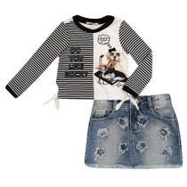 Conjunto Infantil Blusa e Saia Jeans Rock - Petit Cherie