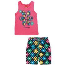 Conjunto Infantil - Blusa e Short - 100% Algodão - Flor - Rosa Choque - Kyly -