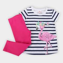 Conjunto Infantil Brandili Flamingo Strass Feminino -
