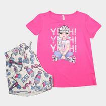 Conjunto Infantil Cativa Blusa e Shorts Patins Feminino -